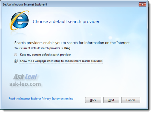 Setup Internet Explorer 8 - Default Search Provider
