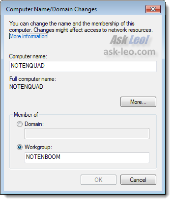 Computer Name / Domain Changes dialog