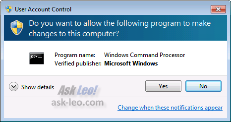 UAC Notification in Windows 7