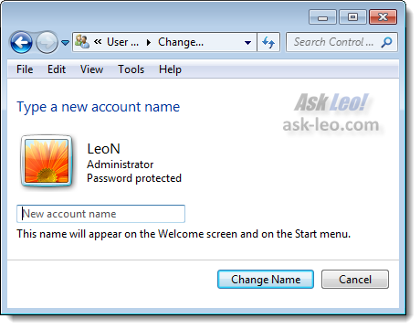 User Accounts - Change Name dialog