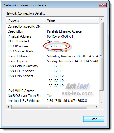 Windows Vista's connection details