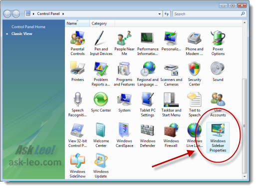 Windows Sidebar Properties in Vista's Control Panel