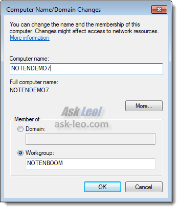 Win 7 Computer Name/Domain Changes dialog