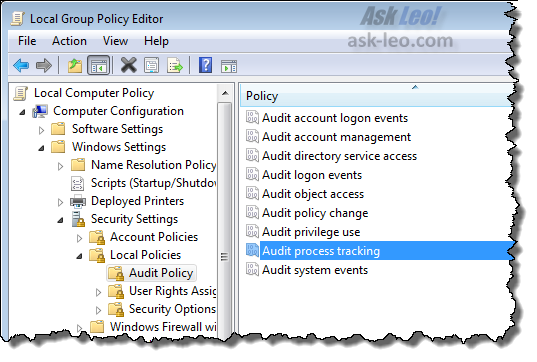 Windows 7 Audit Process Tracking