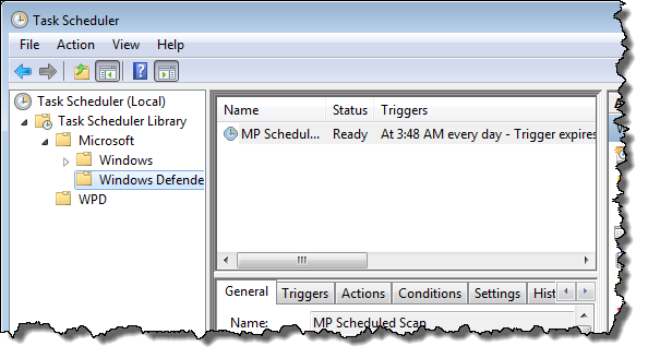 Windows 7 Task Scheduler showing a task