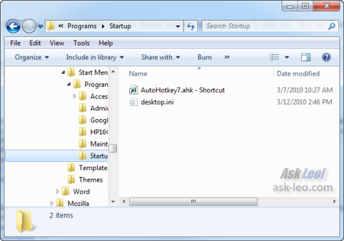 Windows 7 Startup Folder in Windows Explorer