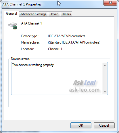 Windows 7 Device Manager showing an ATA device properties
