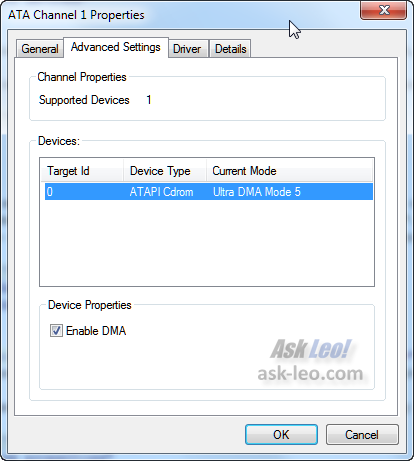 Windows 7 Device Manager showing an ATA device advanced properties