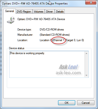 Windows 7 Device Properties of DVD drive
