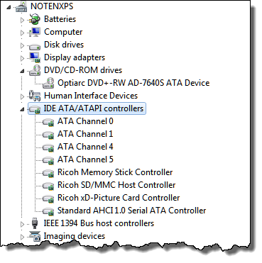 Windows 7 Device Manager expanded IDE ATA/ATAPI controllers