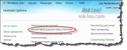 The Account details link in Hotmail's Managing your account
