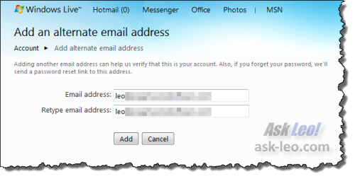 Hotmail add alternate email address form