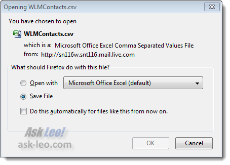 Windows Live Contacts export dialog