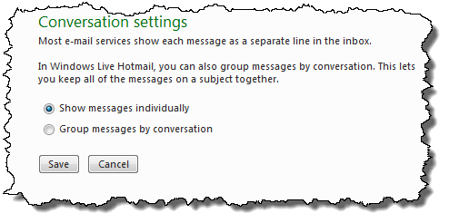 Windows Live Hotmail Conversations Option Setting