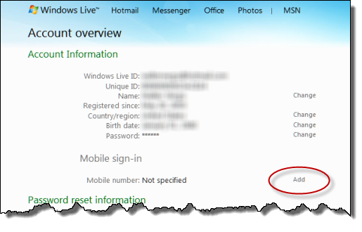 Windows Live Hotmail mobile number addition