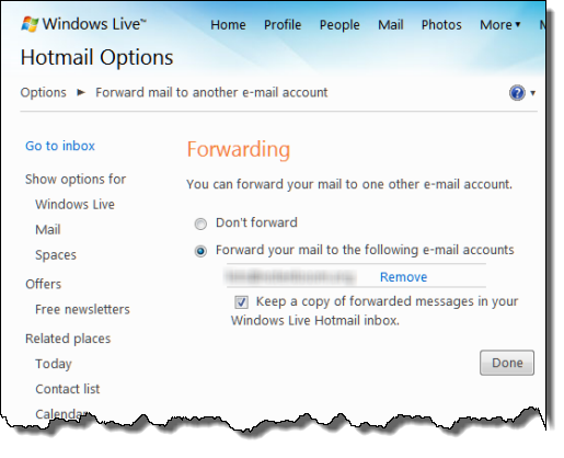 Windows Live Hotmail forwarded account settings