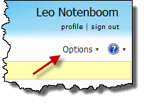 Windows Live Hotmail Options menu