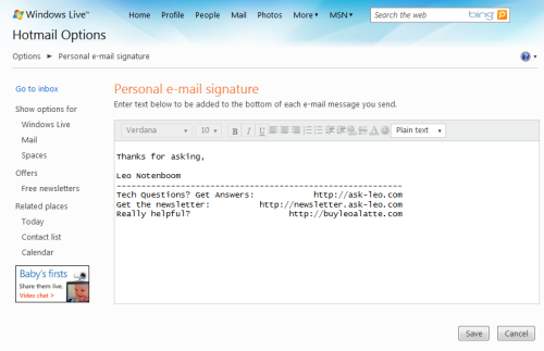 Windows Live Hotmail Signature Editing Page