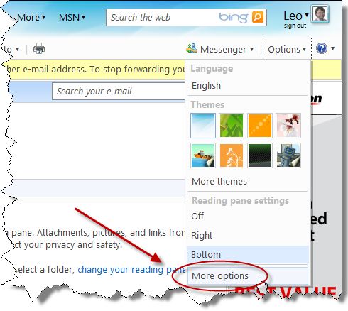 Windows Live Hotmail More options link