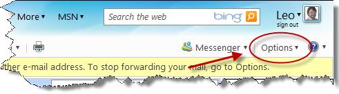 Windows Live Hotmail Options link