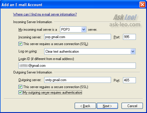 Windows Live Mail New Account configuration: Email server