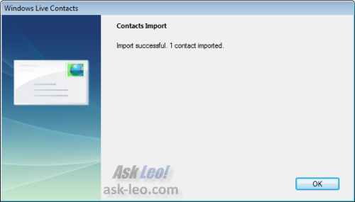 Windows Live Contacts import complete