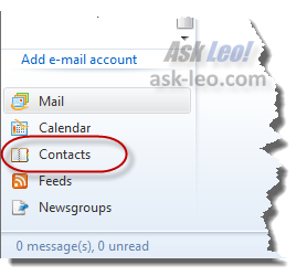 Windows Live Mail contacts