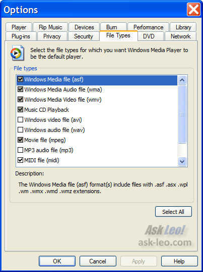 Windows Media Player filetype associations