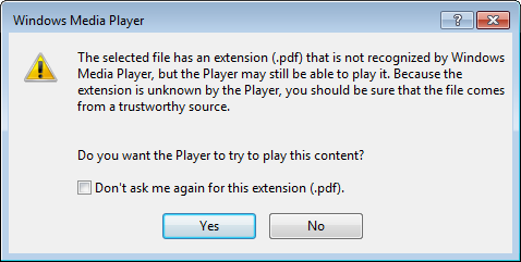 Windows Media Player attempting to open a PDF file
