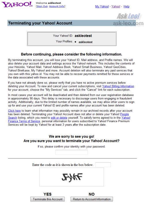 Yahoo account termination confirmation screen