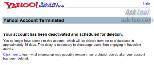 Yahoo Account Termination Confirmation