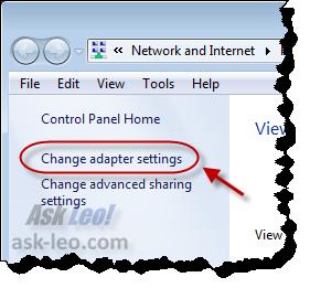 Change Adapter Settings link in Windows 7