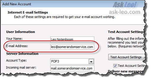 New Account Creation in Outlook 2010