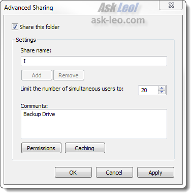 Advanced Sharing Dialog