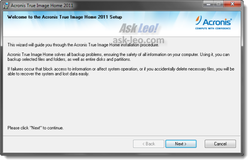 Acronis True Image Home 2011 Setup Wizard Start