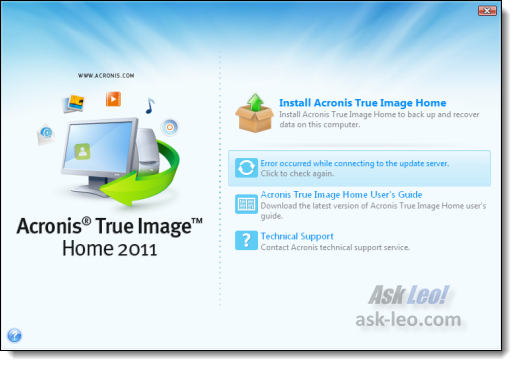 Acronis True Image Home 2011 Splash Screen