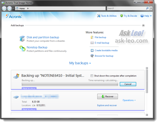 Acronis True Image Home 2011 backup in progress