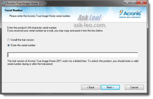 Acronis True Image Home 2011 serial number entry