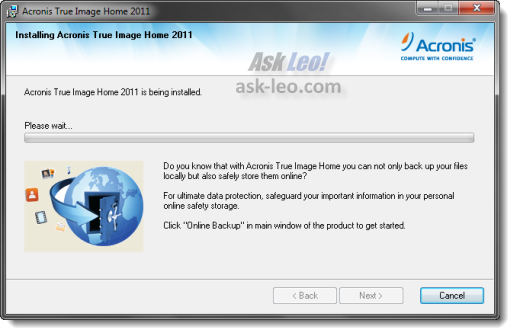 Acronis True Image Home 2011 setup progress