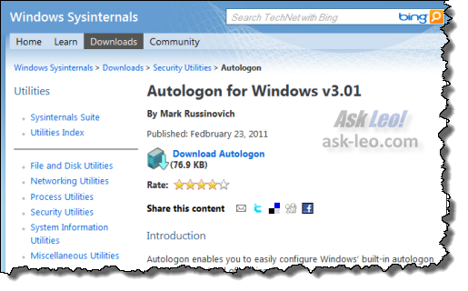 Autologon from SysInternals & Microsoft