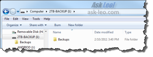 Backup Drive in Internet Explorer