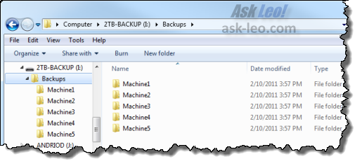 Backup Drive with sub-folders in Internet Explorer