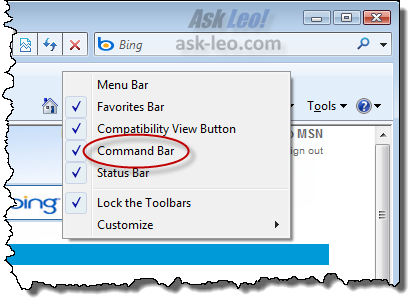 Toolbar selection menu
