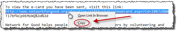 First line of a broken URL selected, and right clicked