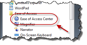 Ease of Access Center link