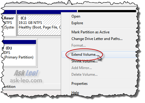 Extend volume item