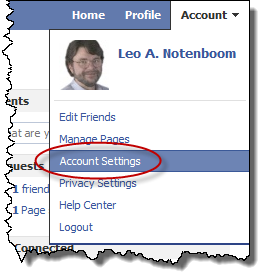 Facebook account settings link