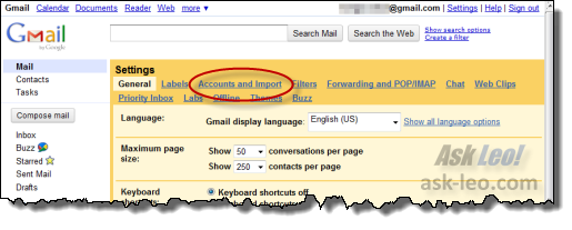 Gmail's Accounts and Import Link in Settings