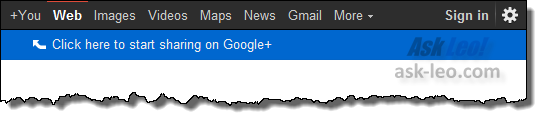 The Google menu bar