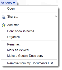 Actions you can take on a Google Doc